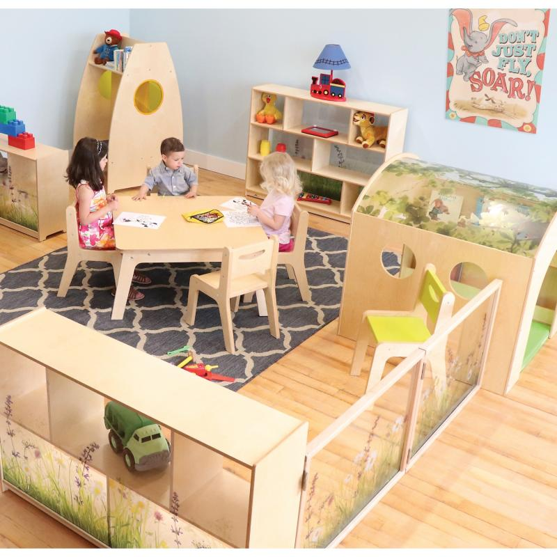 Room layout example using Nature View cabinets and room divider components, each sold separately.