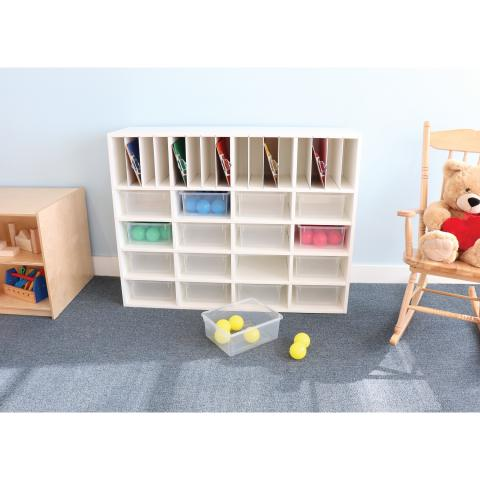 WB0664 Whitney White Cubby Organizer Cabinet