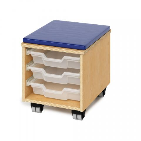 WB1811 - Teachers Rolling Stool With Trays